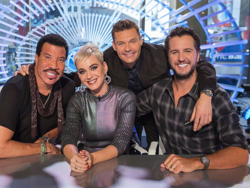 PHOTO: ABCs American Idol judges Lionel Richie, Katy Perry and Luke Bryan with host Ryan Seacrest..