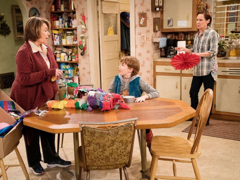 PHOTO: Roseanne Barr, Ames McNamara and Laurie Metcalf in a scene from the reboot of Roseanne.