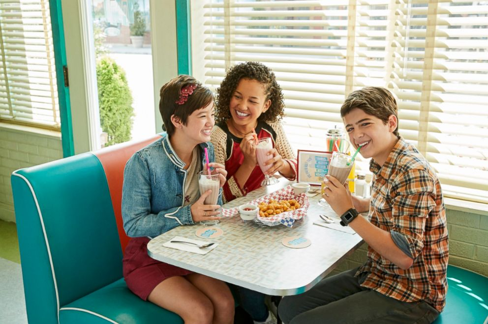 "Peyton Elizabeth Lee, Sofia Wylie and Joshua Rush in Disney Channel's ""Andi Mack."""