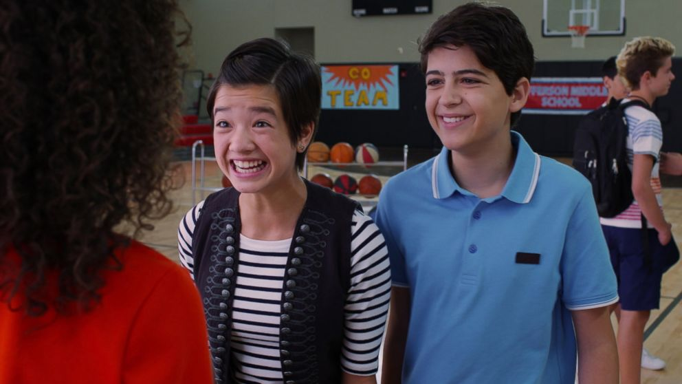 "Peyton Elizabeth Lee and Joshua Rush in a scene from Disney Channel's ""Andi Mack."""