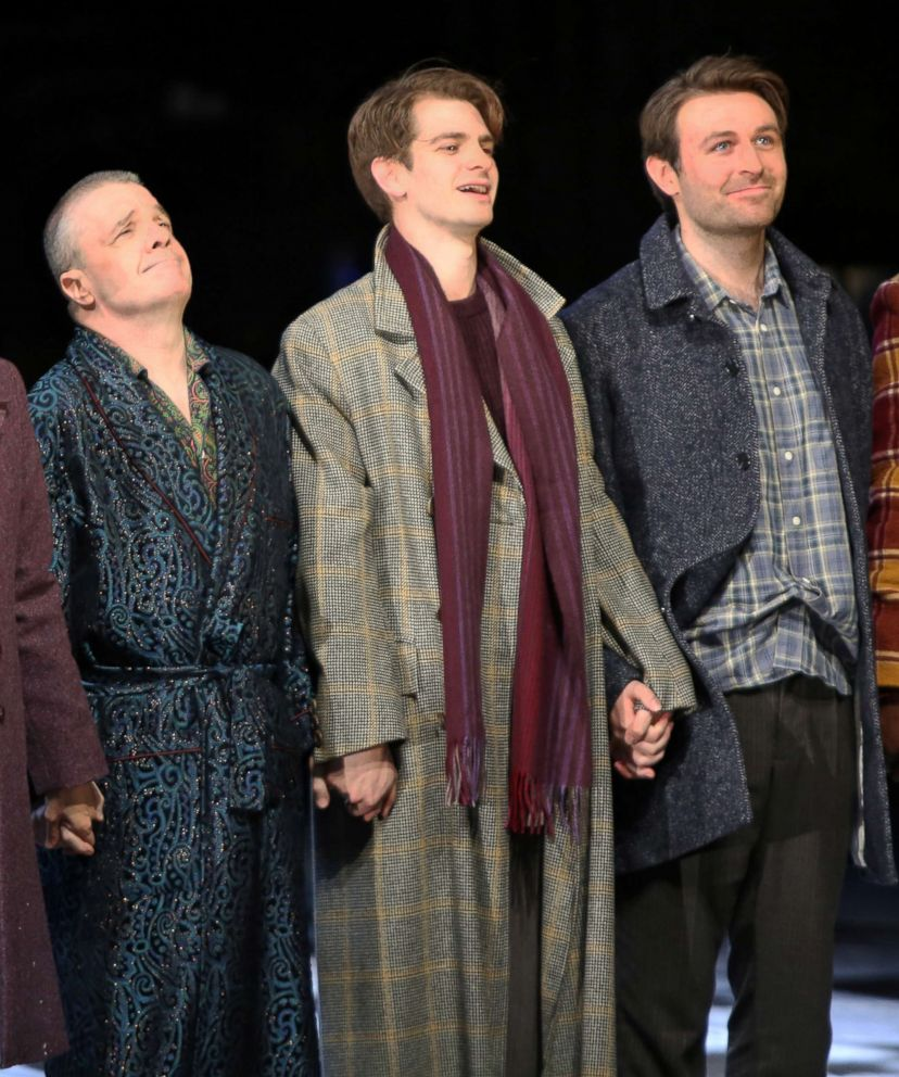 PHOTO: Nathan Lane, Andrew Garfield and James McArdle attend the press night performance of Angels In America at The National Theatre, May 4, 2017 in London.