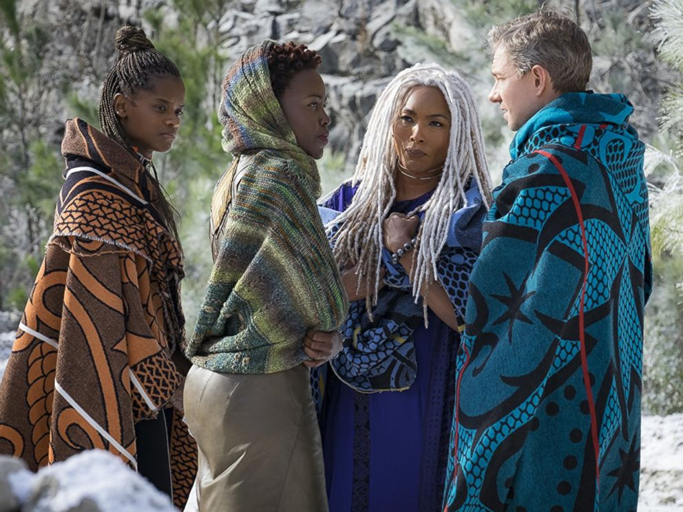 PHOTO: Angela Bassett, Martin Freeman, Lupita Nyongo, and Letitia Wright in the movie Black Panther, 2018.