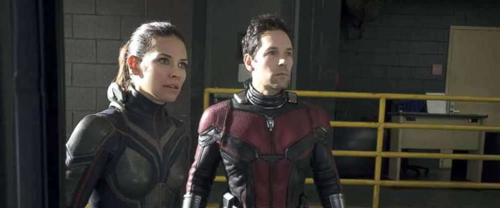 "PHOTO: Evangeline Lilly and Paul Rudd in a scene from ""Ant-Man and the Wasp."""