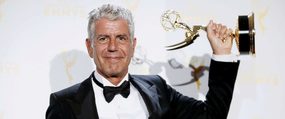 "PHOTO: Anthony Bourdain poses with the outstanding informational series or special award for ""Anthony Bourdain Parts Unknown"" backstage at the 2015 Creative Arts Emmy Awards in Los Angeles in this Sept. 12, 2015 file photo."