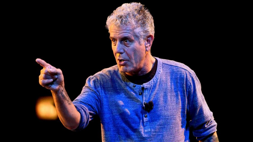 Anthony Bourdain speaks on stage during the Close to the Bone Tour at Auditorium Theatre in this July 30, 2015 file photo in Chicago.