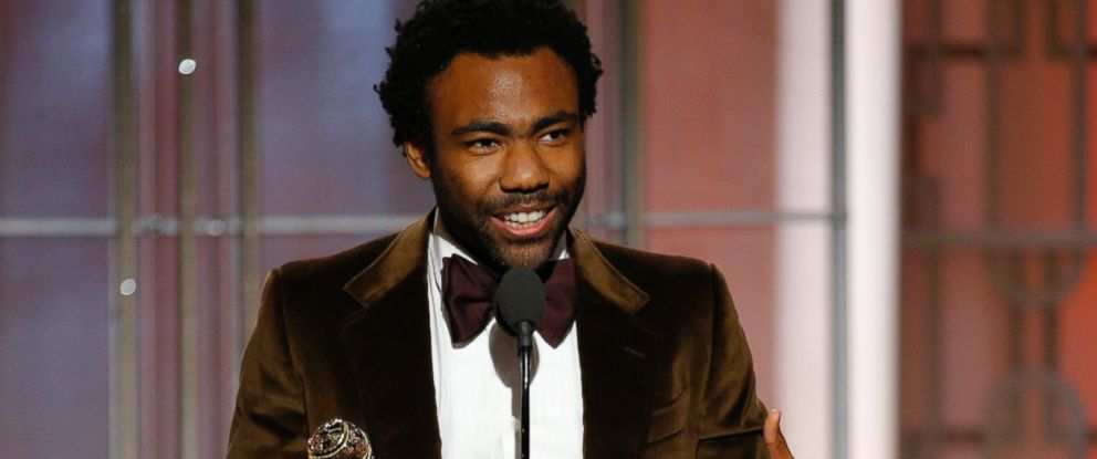 """PHOTO: Donald Glover accepts the award for best actor in a TV comedy series for """"Atlanta,"""" at the 74th Annual Golden Globe Awards at the Beverly Hilton Hotel in Beverly Hills, Calif., on Jan. 8, 2017."""