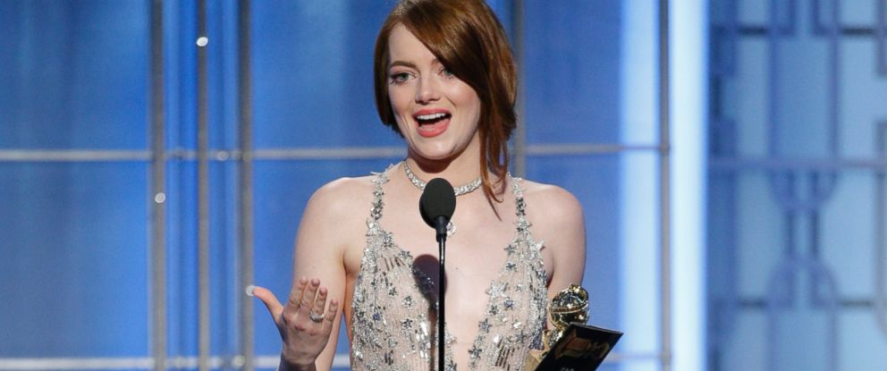 "PHOTO: Emma Stone accepts the award for best actress in a motion picture comedy or musical for her role in ""La La Land"" at the 74th Annual Golden Globe Awards at the Beverly Hilton Hotel in Beverly Hills, Calif., on Jan. 8, 2017."