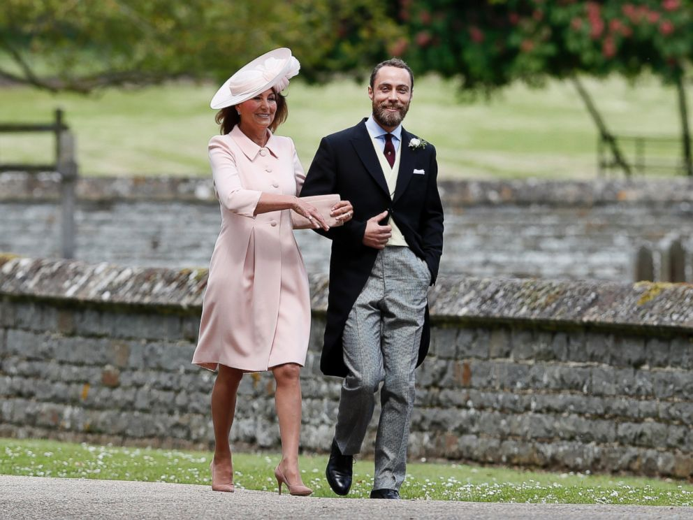 PHOTO: Carole Middleton and her son James arrive for the wedding of her daughter Pippa and James Matthews at St Marks Church in Englefield, May 20, 2017.