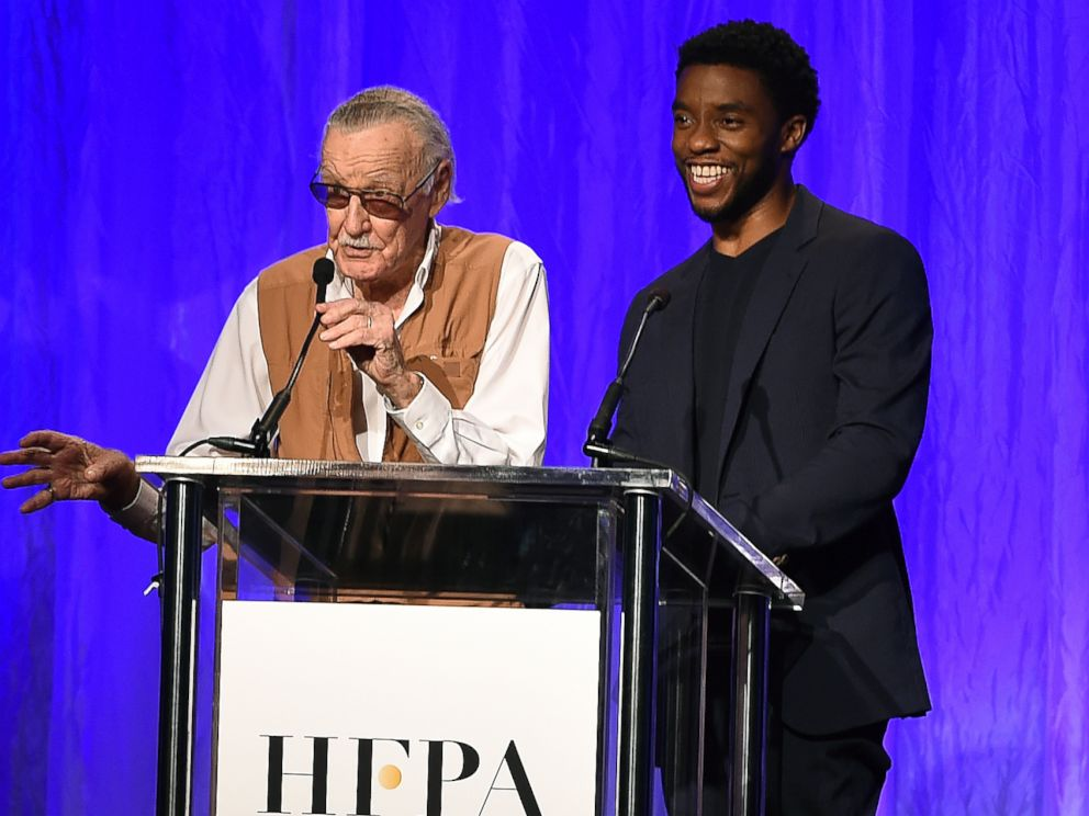 Stan Lee and Chadwick Boseman, of Marvels Black Panther, speak at the Hollywood Foreign Press Association Grants Banquet at the Beverly Wilshire Hotel on Wednesday, Aug. 2, 2017, in Beverly Hills, Calif.