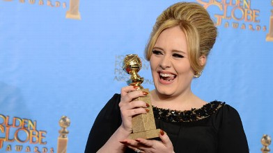 """PHOTO: Adele poses with the award for best original song in a motion picture for """"Skyfall"""" backstage at the 70th Annual Golden Globe Awards at the Beverly Hilton Hotel, Jan. 13, 2013, in Beverly Hills, Calif."""