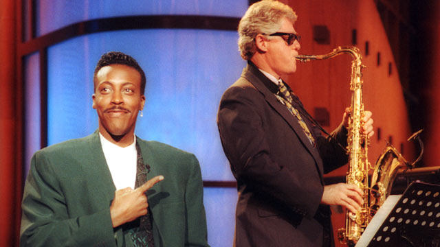"PHOTO: Gov. Bill Clinton, sitting with the band, turns out an impressive version of ""Heatrbreak Hotel"" as Arsenio Hall gestures approvingly in the musical opening of ""The Arsenio Hall Show"" taping at Paramount Studios in Hollywood, June 3, 1992."