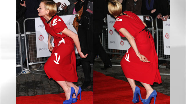 PHOTO: Carey Mulligan takes a tumble on the red carpet at the 32nd London Film Critics' Circle Awards in London, Jan. 19, 2012.