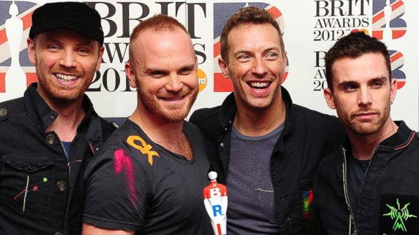 PHOTO: Jonny Buckland, Will Champion, Chris Martin and Guy Berryman of Coldplay appear in this February 21, 2012 file photo.