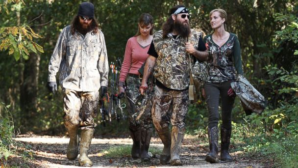 "PHOTO: From left, Jase Robertson, Missy Robertson, Willie Robertson and Korie Robertson, in the episode ""Lets Go Hunting, Deer,"" from the show ""Duck Dynasty."""