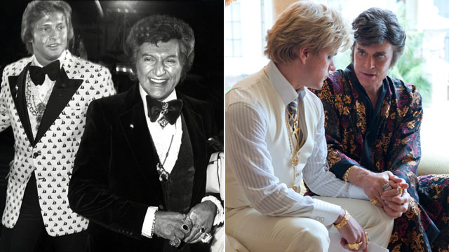 """PHOTO: Liberace and Scott Thorson at the Coconut Grove in Los Angeles, California in this undated photo, while actors Matt Damon and Michael Douglas, far right, depict the two in the 2013 film """"Behind the Candelabra"""". (Photo by )"""
