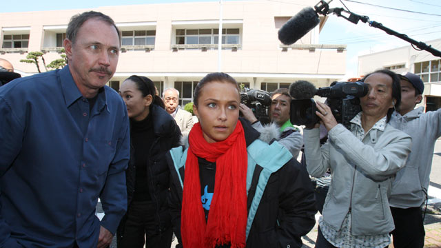 PHOTO: U.S. actress Hayden Panettiere, center, and Jeff Pantukhoff, anti-whaling activist from the U.S., left, arrive at the town hall to meet with the mayor, in Taiji, Wakayama prefecture, west of Japan.