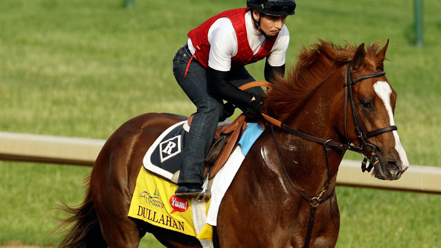 PHOTO: Exercise rider Faustino Aguilar takes Kentucky Derby entrant Dullahan for a workout at Churchill Downs in Louisville, Ky, May 3, 2012.