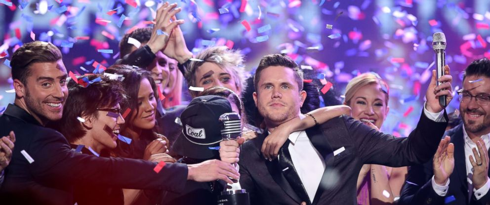 "PHOTO: Trent Harmon, winner of ""American Idol"" The Farewell Season celebrates with fellow contestants during the season finale at the Dolby Theatre on Thursday, April 7, 2016, in Los Angeles."