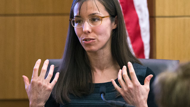 PHOTO: Jodi Arias gestures toward the jury, March 5, 2013, in Maricopa County Superior Court in downtown Phoenix.