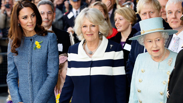 PHOTO: Britain's Queen Elizabeth II, right, Camilla, Duchess of Cornwall, and Kate, Duchess of Cambridge.