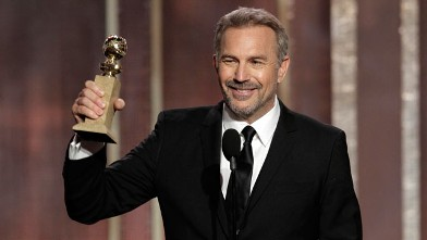 """PHOTO: Kevin Costner with his award for best actor in a mini-series or TV movie for his role in """"Hatfields & McCoys,"""" on stage during the 70th Annual Golden Globe Awards at the Beverly Hilton Hotel, Jan. 13, 2013, in Beverly Hills, Calif."""