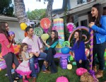 PHOTO: Kyle Richards, husband Mauricio Umansky and daughters, Farrah, Alexia, Sophia, and Portia, unveil their SweeTARTS Halloween house, Oct. 23, 2012 in Los Angeles.