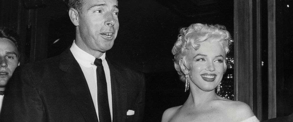 PHOTO: In this June 2, 1955 file photo, actress Marilyn Monroe, right, dressed in a glamorous evening gown, arrives with Joe DiMaggio at the theater.