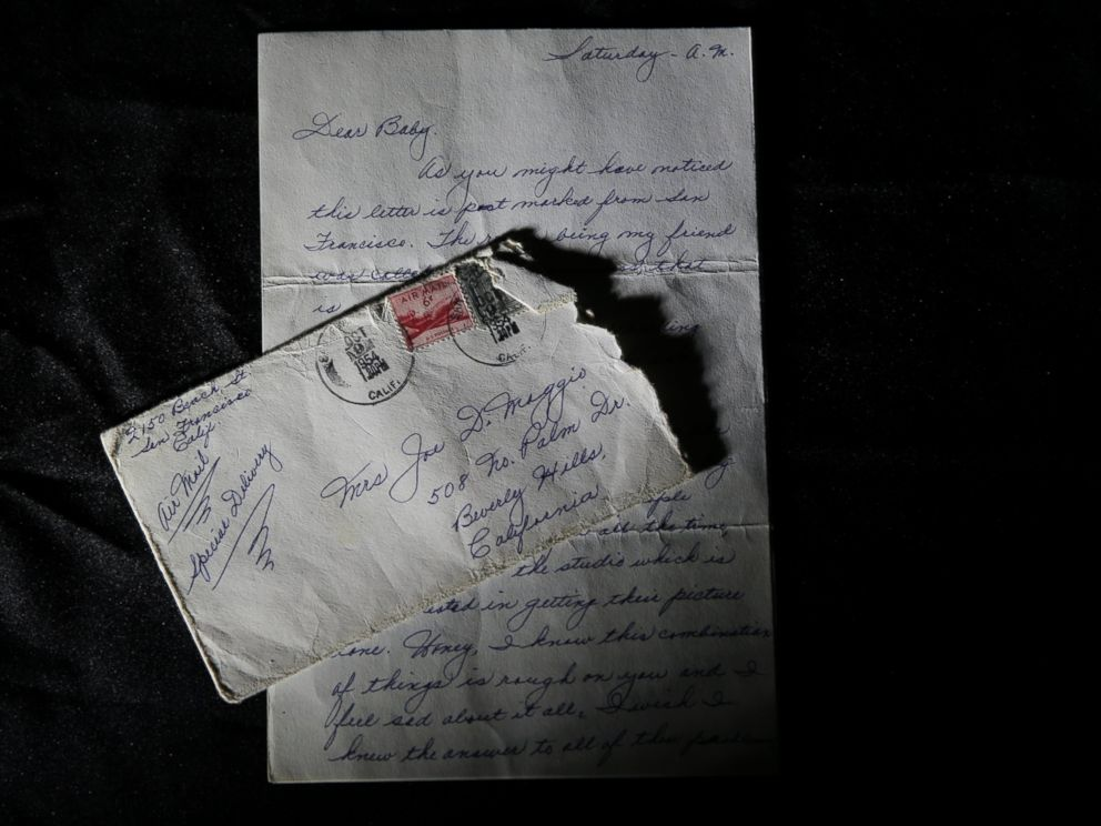PHOTO: This Nov. 7, 2014 photo shows part of a three-page handwritten letter and original envelope postmarked Oct. 9, 1954 from baseball legend Joe DiMaggio to Marilyn Monroe on display at Juliens Auctions in Beverly Hills, Calif.