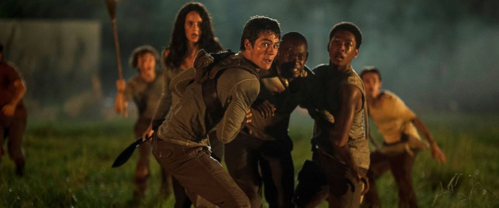 """PHOTO: In this image released by 20th Century Fox, from foreground left, Kaya Scoderlario, Dylan O?Brien, Aml Ameen and Jacob Latimore appear in a scene from """"The Maze Runner."""""""