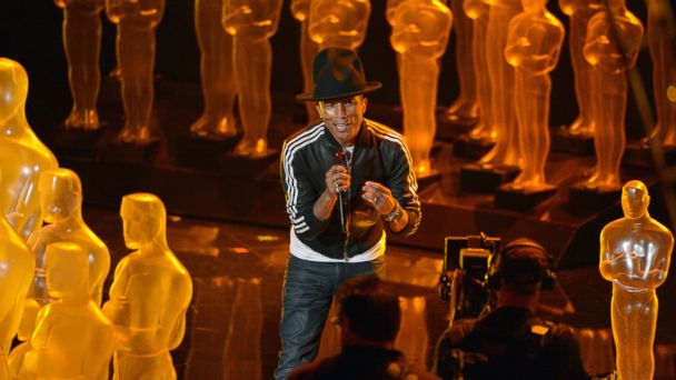 "PHOTO: Pharrell Williams performs ""Happy"" during the Oscars at the Dolby Theatre on March 2, 2014, in Los Angeles."