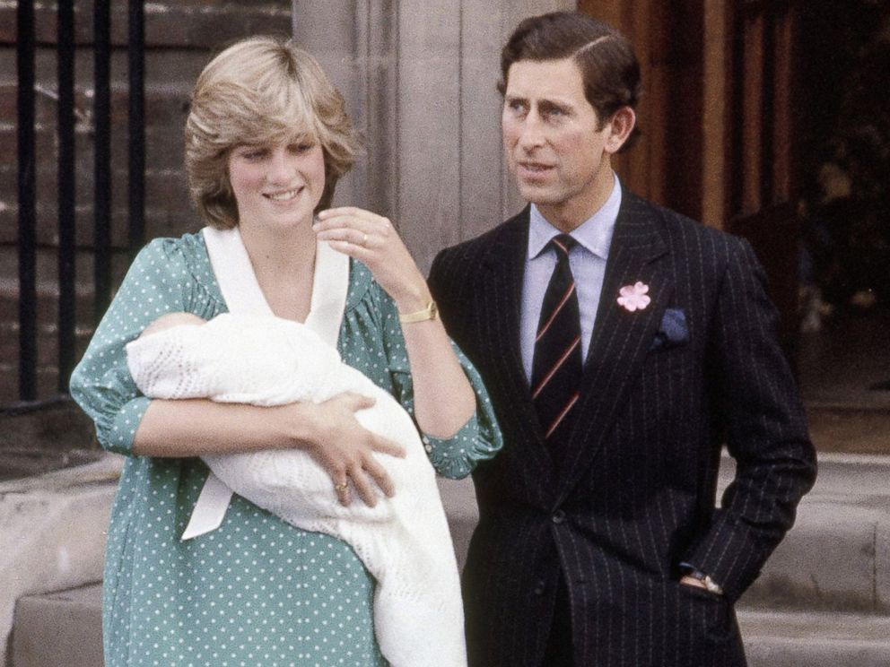 PHOTO: Princess Diana holds her newborn son Prince William as they leave St. Marys Hospital with Prince Charles in London, June 22, 1982.
