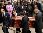 PHOTO: Pallbearers carry the casket of film critic Roger Ebert before his funeral at Holy Name Cathedral in Chicago, April 8, 2013.
