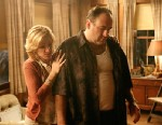 "PHOTO: Edie Falco portrays Carmela Soprano and James Gandolfini is Tony Soprano in a scene from one of the last episodes of the hit HBO dramatic series ""The Sopranos."""
