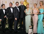 PHOTO: From left to right; Producer Thomas Langmann, Jean Dujardin, director Michel Hazanavicius, James Cromwell, and actresses Missi Pyl, Penelope Ann Miller, Bérénice Bejo.