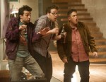 "PHOTO: This film publicity image released by Columbia Pictures shows, from left, Jay Baruchel, Seth Rogen and Jonah Hill in a scene from ""This Is The End."""