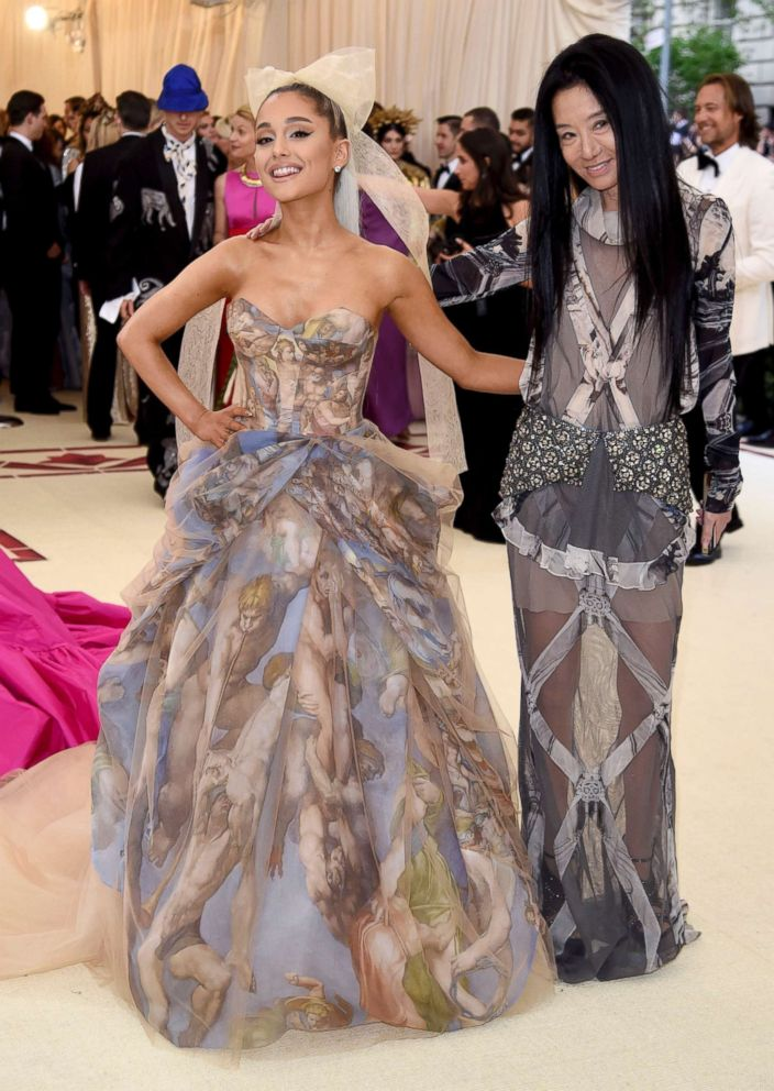 PHOTO: Ariana Grande, left and Vera Wang attend The Metropolitan Museum of Arts Costume Institute benefit gala, May 7, 2018, in New York.
