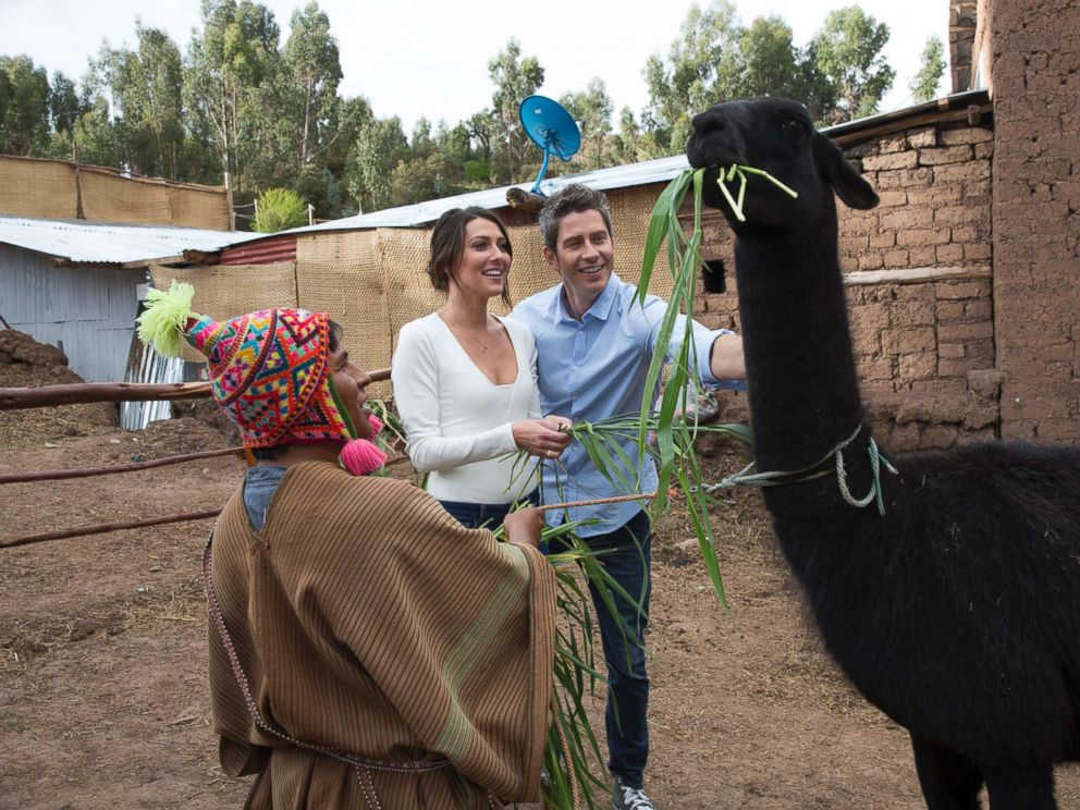 PHOTO: Becca and Arie Luyendyk Jr. on an episode of The Bachelor, in Peru, on The ABC Television Network.