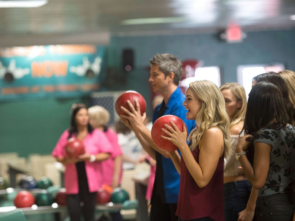 PHOTO: Arie Luyendyk Jr. and Jenna during a competitive day of bowling with the winner going to a private after-party, on The Bachelor, Jan. 29, 2018, on The ABC Television Network.
