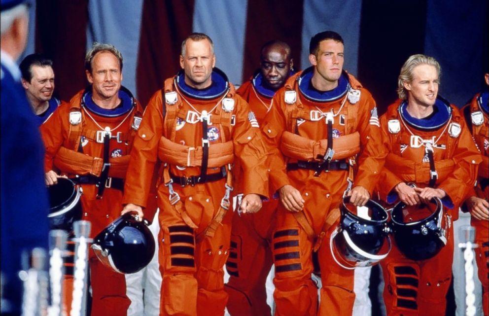 PHOTO: Steve Buscemi, Bruce Willis, Ben Affleck, Will Patton, Michael Clarke Duncan, and Owen Wilson appear in a scene from Armageddon.