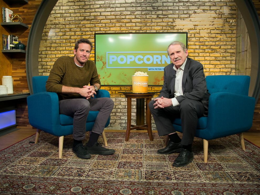 PHOTO: Armie Hammer appears on Popcorn with Peter Travers at ABC News studios, Jan. 3, 2018, in New York City.
