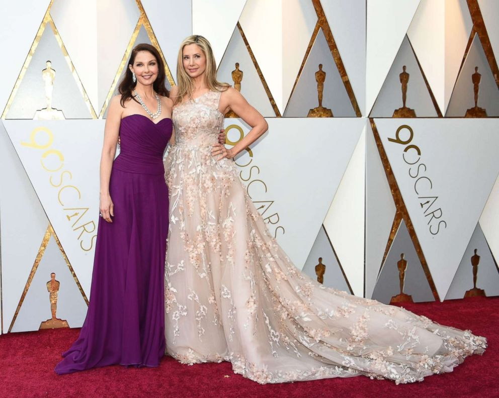 PHOTO: Ashley Judd and Mira Sorvino arrive for the 90th Annual Academy Awards on March 4, 2018, in Hollywood, Calif.