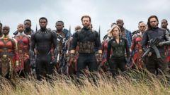 "PHOTO: Danai Gurira, as Okoye, Chadwick Boseman, as Black Panther, Chris Evans, as Captain America, Scarlett Johansson, as Black Widow, and Sebastian Stan, as White Wolf, in a scene from ""Avengers: Infinity War."""