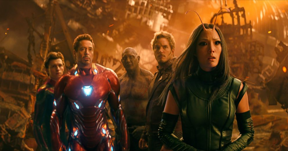 PHOTO: Tom Holland, as Spider-Man, Robert Downey Jr., as Iron Man, Dave Bautista, as Drax, Chris Pratt, as Star-Lord, and Pom Klementieff, as Mantis, in a scene from Avengers: Infinity War.
