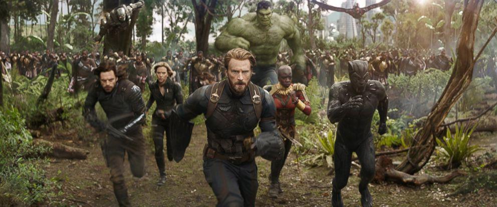 "PHOTO: Don Cheadle, Chris Evans, Scarlett Johansson, Mark Ruffalo, Anthony Mackie, Chadwick Boseman, Sebastian Stan and Danai Gurira in ""Avengers: Infinity War."""