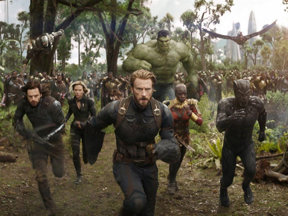 PHOTO: Don Cheadle, Chris Evans, Scarlett Johansson, Mark Ruffalo, Anthony Mackie, Chadwick Boseman, Sebastian Stan and Danai Gurira in Avengers: Infinity War.