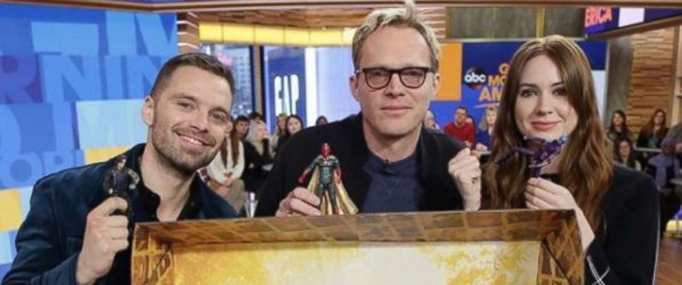 "PHOTO: Stars of Marvels ""Avengers Infinity War"" pose with action figures for a new charitable campaign."
