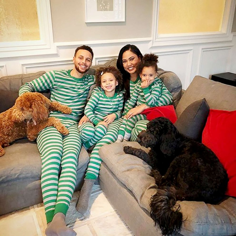 PHOTO: Ayesha Curry celebrates Christmas with her husband Stephen Curry and their daughters Riley and Ryan.