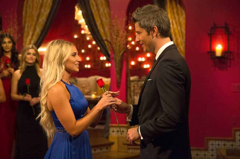 PHOTO: Arie Luyendyk Jr. with Maquel during a scene on The Bachelor.