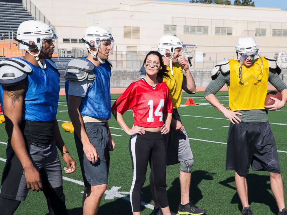 PHOTO: Christon, Ryan, Garrett and Blake meet Becca Kufrin at a football field to run drills with professional Legends Football League stars and then play a lively game, on The Bachelorette, June 11, 2018, on The ABC Television Network.