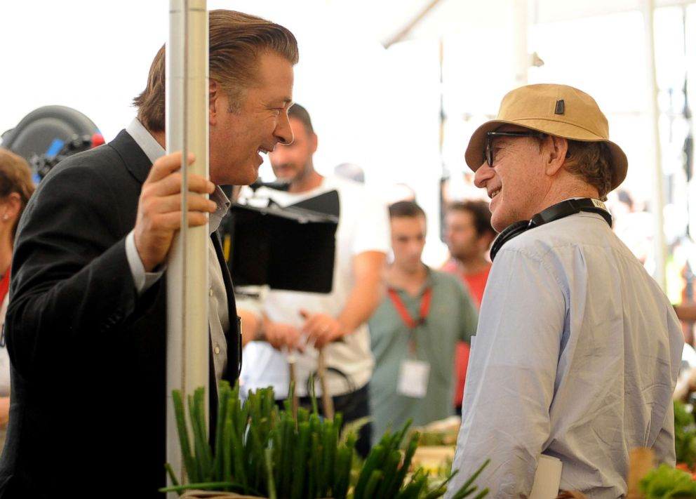 Alec Baldwin speaks to Woody Allen on the set of 'Bop Decameron' in Rome, July 28, 2011.